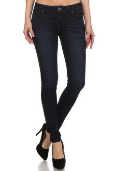 Enjean Women's Saturated Low-Rise Skinny Jeans, Dark Wash (0)