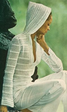 Etsy crochet filet hooded sweater pattern #crochet #sweater #pattern