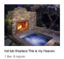 Fire place right next to Hot Tub!