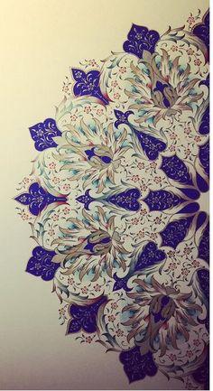 Beautiful Turkish Art by Dilara Yarcı Islamic Art Pattern, Pattern Art, Motif Oriental, Art Asiatique, Islamic Art Calligraphy, Calligraphy Alphabet, Turkish Art, Arabesque, Illuminated Manuscript