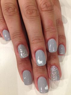 Bio Sculpture Gel: #154 - Bette (Hollywood Collection) with silver glitter & hearts