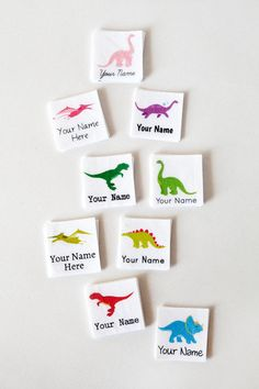 Cute, simple dinosaur graphics personalized with your text and printed on soft 100% organic cotton make the perfect childrens name tags.  Theyre little 1 squares, and there are 75 iron on tags per set.  These clothing labels are machine washable and finished with a sturdy adhesive that will last through countless washes and wear. To apply, remove the paper backing, place on clothing item, and press very firmly with a hot iron for 15 seconds (you might need a thin pressing cloth to protect…