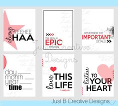 Love this Life Project Life Printables. $2.50, via Etsy.