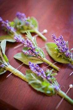 boutonniere idea  -- really like herbs, and Rebecca loves lavendar but Scott does not really like the smell ... maybe for Rebecca's dad?