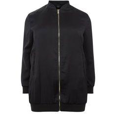 Curves Black Sateen Longline Bomber Jacket | New Look