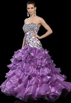 Alyce Purple Plaid Quinceanera Dress 9101
