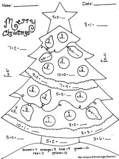 Fun Christmas Worksheets First Grade: christmas math worksheets addition tree christmas math addition ,