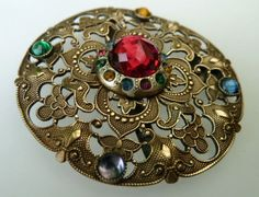 Beautiful Large Victorian Jeweled Buckle Button