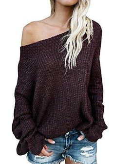 Off The Shoulder Batwing Long Sleeve Knit Loose Oversized Pullover Sweater  Sweater Outfits 589d40fe5