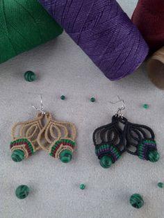 Macrame earrings, boho earrings, malachite earrings, boho chic earrings, boho jeawelry, handmade earrings