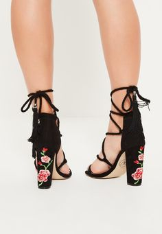 Missguided - Black Embroidered Lace Up Block Heels