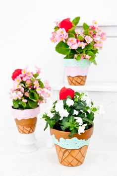 These Painted Waffle Cone Ice Cream Flower Pots will totally satisfy that DIY sweet tooth... and they don't take long to craft either! Perfect for an ice cream party, summer decor, ice cream social and more.