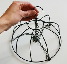 How to make a chandelier from a wire bowl. for girls! Need to remember this for other applications. Wire Crafts, Fun Crafts, Diy And Crafts, Beaded Chandelier, Outdoor Chandelier, Lampshade Chandelier, Shell Chandelier, Antique Chandelier, How To Make A Chandelier