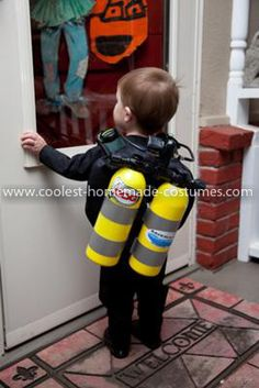 Homemade Scuba Diver Costume: Since Daddy is an underwater photographer, I could not resist making this Homemade Scuba Diver Costume for our 20 month old son.    I bought some slightly