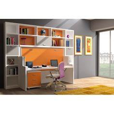 018 Mueble mesa-cama con librerias