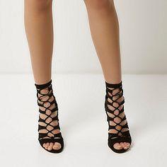 Zwarte gekooide veterschoenen met hoge hakken - hoge hakken - schoenen / laarzen - dames