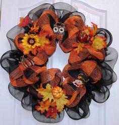 Pottery Barn Style Black & Orange Deco Mesh Wreath
