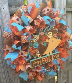 Fall Wreath Happy Fall Y'all Wreath Fall by WelcomingWreathsMore