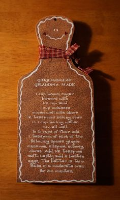 GRANDMAS GINGERBREAD MAN RECIPE SIGN Wood Christmas Holiday Home Decor NEW #OhioWholesale #gingerbread #gingerbreadhouse