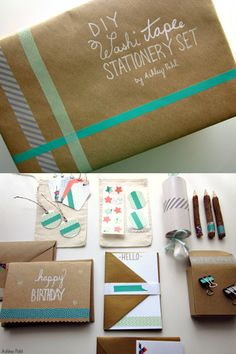 Make your own giftable, DIY stationery set with washi tape and common office supplies! On Skip To My Lou