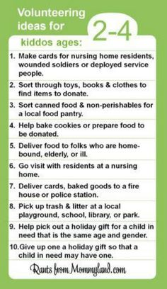 Service ideas for 2-4 year olds