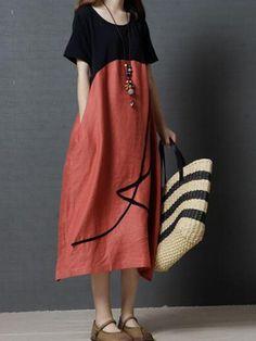 bbda9c3d720 Vintage Loose O Neck Splicing Printed Dresses For Women Travel Dress