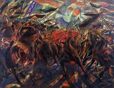 Carlo Carrà, Funeral of the Anarchist Galli (I funerali del anarchico Galli), 1910-11, oil on canvas, 198.7 x 259.1 cm  (The Museum of Modern Art,  New York)