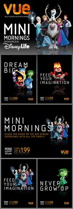 Just a few examples of our 'Mini Mornings' (formerly KidsAM) artwork for Vue cinemas.
