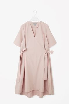 COS image 2 of V-neck dress with tie belts in Pale Pink