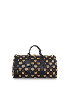 Quilted Teddy Bear Travel Bag by Moschino at Neiman Marcus.