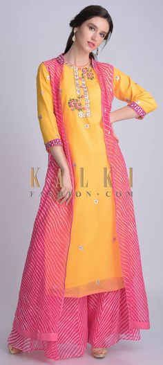 Sun yellow suit in chiffon with lehariya printed palazzo and jacket. Suit ornamented with gotta patches, sequins, zari and resham. Kurta Designs Women, Kurti Neck Designs, Kurti Designs Party Wear, Blouse Designs, Dress Indian Style, Indian Dresses, Indian Outfits, Indian Designer Outfits, Designer Dresses