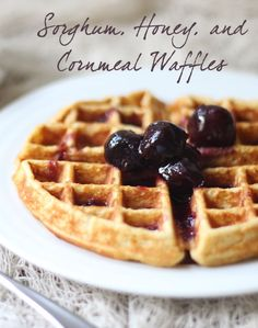 Sorghum, Honey, & Cornmeal Waffles with Two-Ingredient Homemade Syrup