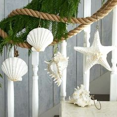 Rope garland with resin shells and starfish: http://www.completely-coastal.com/2015/11/sea-inspired-coastal-christmas-collections.html
