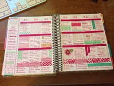pretty in pink. check boxes along bottom and side to stay on task, and details each day about what you did.
