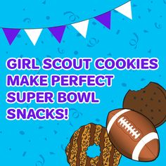 No Super Bowl party is complete without a few boxes of Girl Scout cookies! Make sure to grab a box or two before the big game! Girl Scout Cookie Image, Girl Scout Cookie Sales, Brownie Girl Scouts, Scout Mom, Daisy Girl Scouts, Girl Scout Daisy Activities, Girl Scout Cookies Flavors, Gs Cookies, Sales Girl