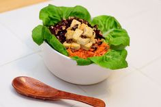 Glory Bowl: rice, beets, carrots, tofu, almond, and spinach. With a yummy-sounding dressing.