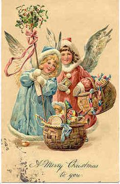Two Christmas Angels With Gifts Original Vintage Postcard Vintage Christmas Images, Old Christmas, Old Fashioned Christmas, Victorian Christmas, Vintage Holiday, Christmas Angels, Christmas Baskets, Xmas, Vintage Greeting Cards