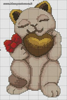 schema gattino Thun punto croce Cat Cross Stitches, Cross Stitch Charts, Cross Stitching, Cross Stitch Embroidery, Cross Stitch Patterns, Minnie Baby, Stitch Doll, Fillet Crochet, Cat Quilt