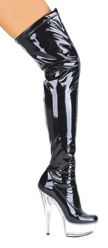 Womens 6 Inch Pointed Stiletto Heel Thigh High Stretch Boots BlackClear9 ** Check out this great product.