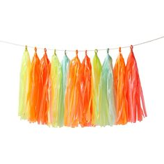 Meri Meri Neon No Hassel Tassel Garland . Bring a touch of extra colour to your celebration with this beautiful tassel garland, featuring bold, bright tasse Rainbow Sherbet, Neon Rainbow, Happy Birthday Bunting, Baby First Birthday, Pink Paper, Colored Paper, Tassel Garland, Tassels, Neon Party Themes