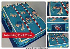Swimming pool sheet cake by DreamyCakes.com
