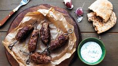 Minted Lamb Kebabs with Herb Yogurt Dip - Yeo Valley Bbc Good Food Recipes, Yummy Food, Uk Recipes, Recipies, Tasty, Passion Fruit Smoothie, Barbecued Lamb, Yogurt Dip Recipe, Lamb Skewers