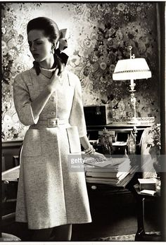 Baroness Wiltraud von Furstenberg wearing a soft belted coat by Mainbocher; photographed in an unidentified New York apartment. Photo by Alexis Waldeck. 1969 Fashion, Belted Coat, Von Furstenberg, Pretty Dresses, Vogue, White Dress, High Neck Dress, Chic, Lady
