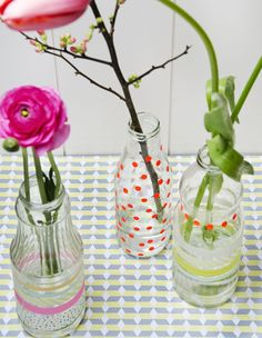 homemade vases <3 the ribbons!
