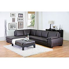 @Overstock.com - Angela Dark Brown 2-piece Leather Sectional Sofa - This attractive brown leather sectional sofa comes in an L shape that is perfect for most rooms. The timeless style has ample seating, and the sofa and chaise lounge are comfortable with foam interiors. The color is suitable for any home.  http://www.overstock.com/Home-Garden/Angela-Dark-Brown-2-piece-Leather-Sectional-Sofa/4040633/product.html?CID=214117 $1,599.59