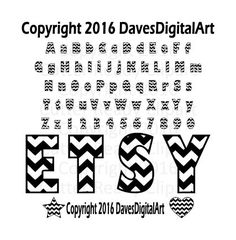 Wide Bold Chevron Letter set uppercase and by DavesDigitalArt