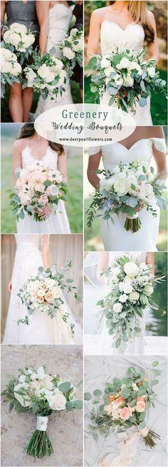 Greenery eucalyptus wedding bouquets #WeddingIdeasGreen