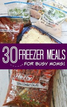 Meals for Busy Moms! 20 Freezer Meals you can make ahead for a quick and easy go-to dinner!Freezer Meals for Busy Moms! 20 Freezer Meals you can make ahead for a quick and easy go-to dinner! Slow Cooker Freezer Meals, Make Ahead Freezer Meals, Dump Meals, Freezer Cooking, Quick Meals, Slow Cooker Recipes, Crockpot Recipes, Cooking Recipes, Freezer Recipes