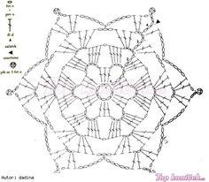 Sněhové vločky Crochet Snowflake Pattern, Crochet Snowflakes, Crochet Patterns, Crochet Chart, Crochet Stitches, Granny Squares, Doilies, Projects To Try, Xmas