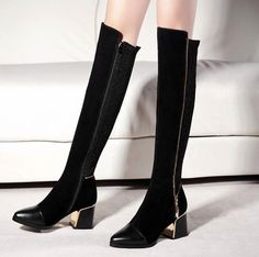 Sassy Black Over The Knee Boots